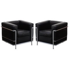 Pair of 'LC2' Club Chairs by Le Corbusier for Cassina, Signed