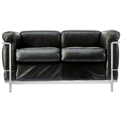 Pair of LC2 Two-Seat Sofas by Le Corbusier Edited by Cassina