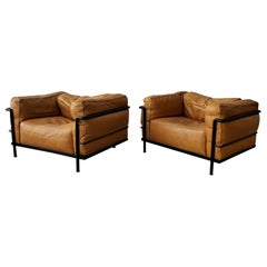 Pair of LC3 Cassina Grand Modele Down Armchairs by Le Corbusier