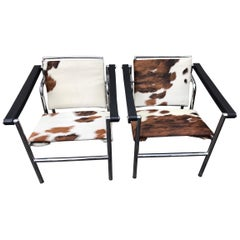 Pair of Le Corbusier LC1 Sling Chairs by Cassina, Italy, Late 20th Century