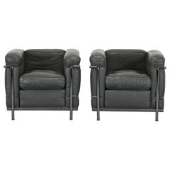 Pair of Le Corbusier LC2 Armchairs, 1980s