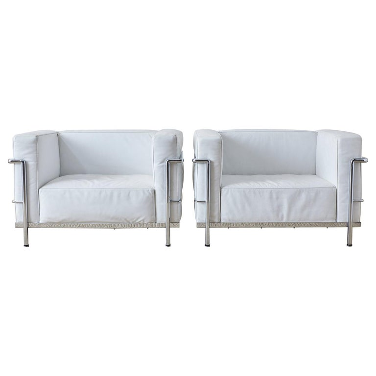 Pair of Le Corbusier LC3 Style Lounge Chairs For Mobelaris