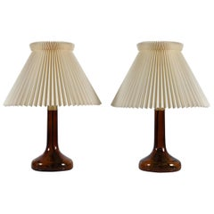 Pair of Le Klint Table Lamps 343 by Holmegaard Brown Glass with Original Shade