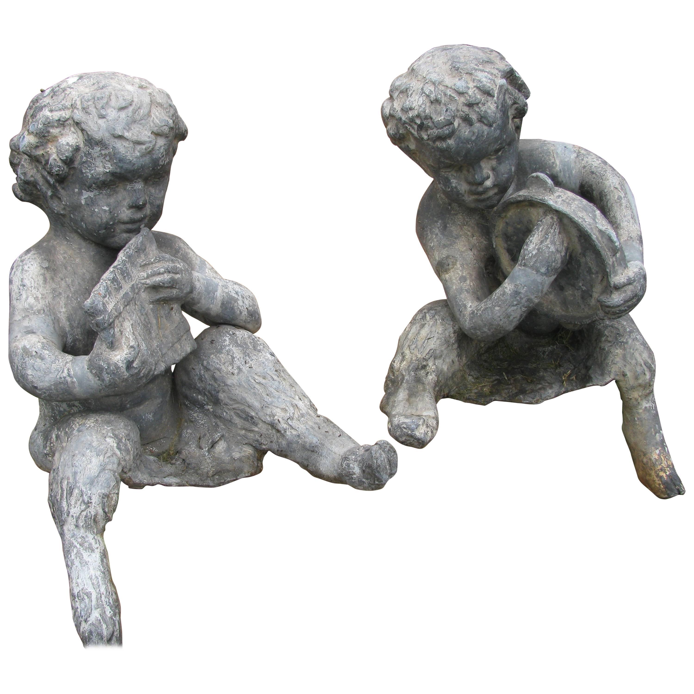 Pair of Early 20th Century Lead Zinc Garden Figures