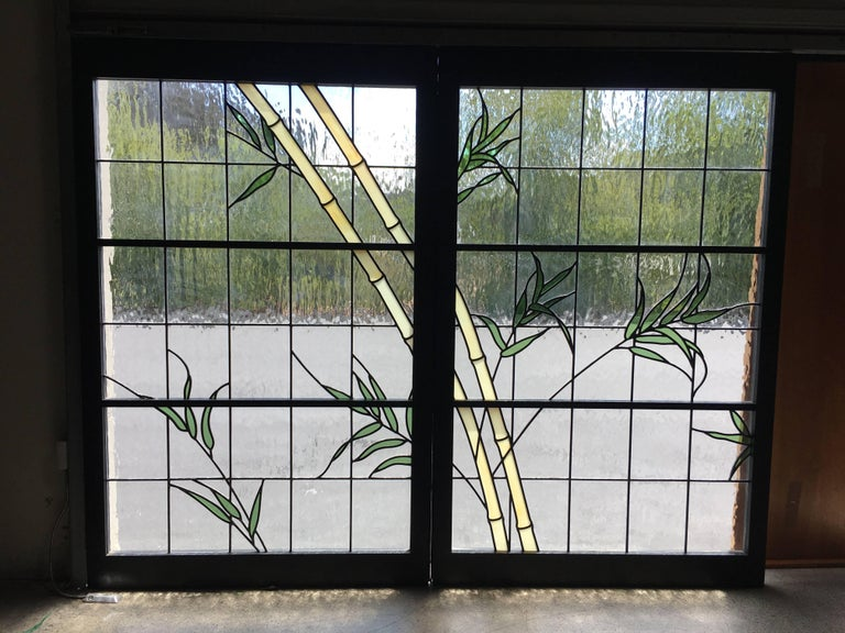 20th Century Pair of Leaded Glass Windows For Sale