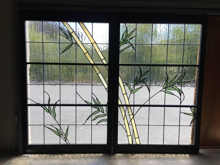 Pair of Leaded Glass Windows For Sale 1