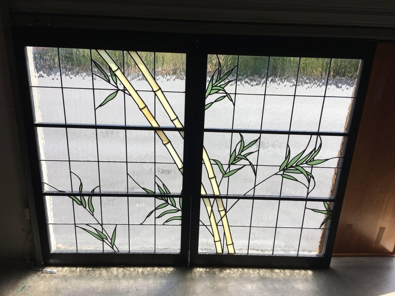Pair of Leaded Glass Windows For Sale 2