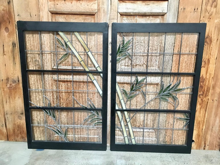 Pair of Leaded Glass Windows For Sale 4