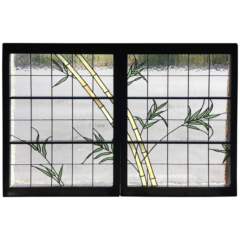 Pair of Leaded Glass Windows For Sale