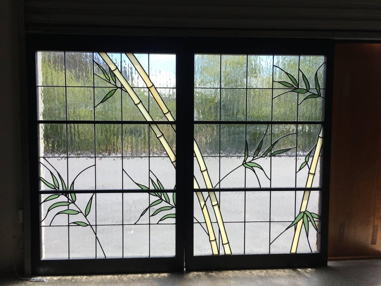 Organic Modern Pair of Leaded Glass Windows in Wood Frames For Sale