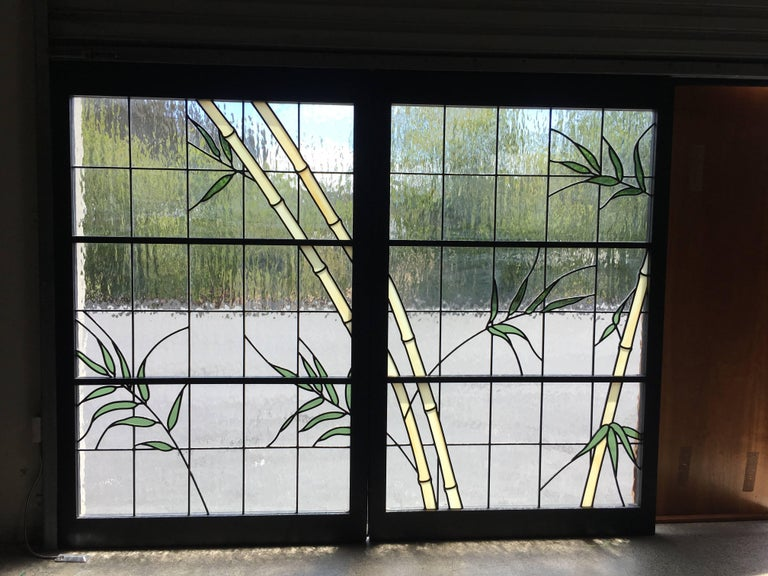 Pair of Leaded Glass Windows in Wood Frames In Excellent Condition For Sale In Laguna Hills, CA