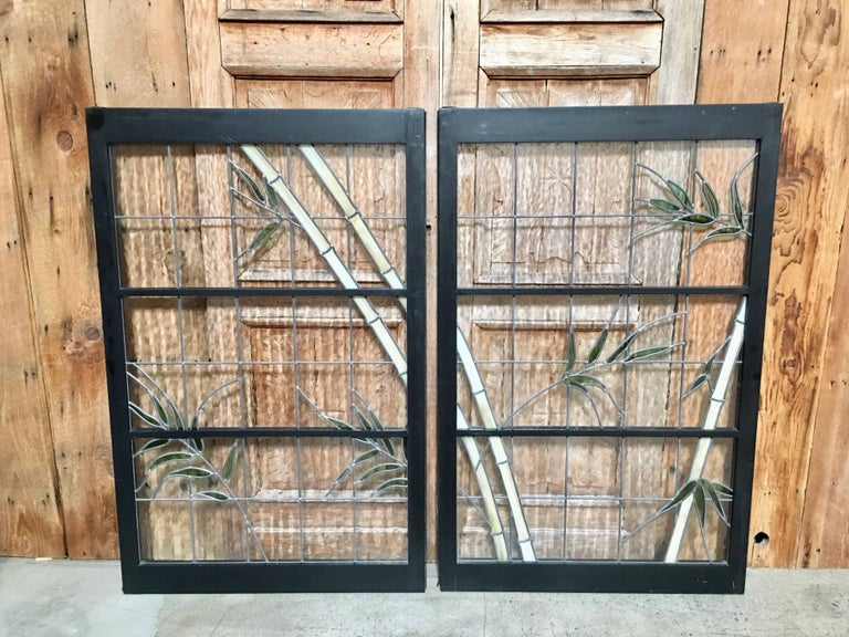 20th Century Pair of Leaded Glass Windows in Wood Frames For Sale