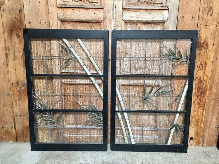 Pair of Leaded Glass Windows in Wood Frames For Sale 1