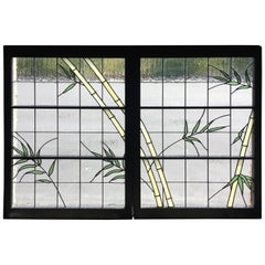 Pair of Leaded Glass Windows in Wood Frames