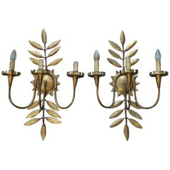 Pair of Leaf Metal Gilt Wall Sconces, circa 1940