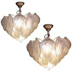 Pair of Leaf Polar Chandeliers, Murano, 1980s