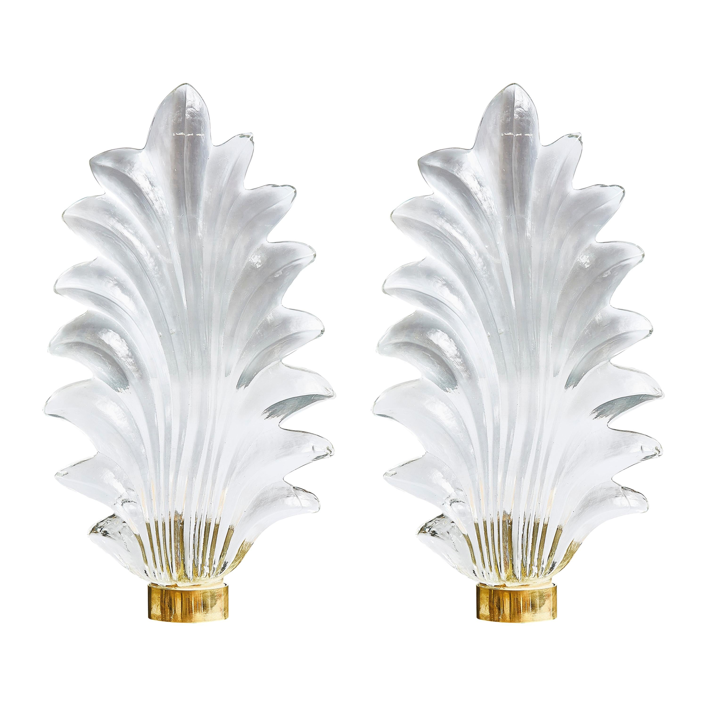 """Pair of """"Leaf"""" Sconces in Murano Glass"""