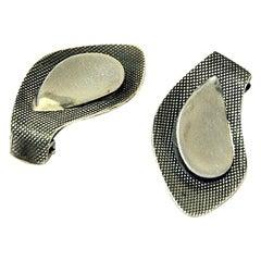 Pair of Leaf Shaped Silver Ear Rings `Speil` by Grete P Kittelsen 1953, Norway
