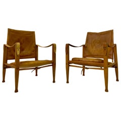 Pair of Leather and Ash Safari Chairs by Kaare Klint