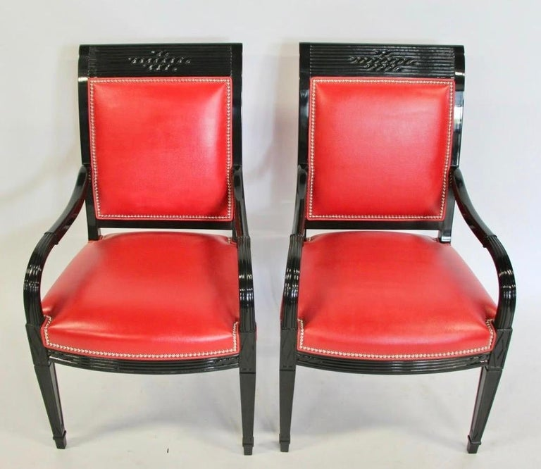 Pair of Leather and Black Lacquer Armchairs For Sale 7