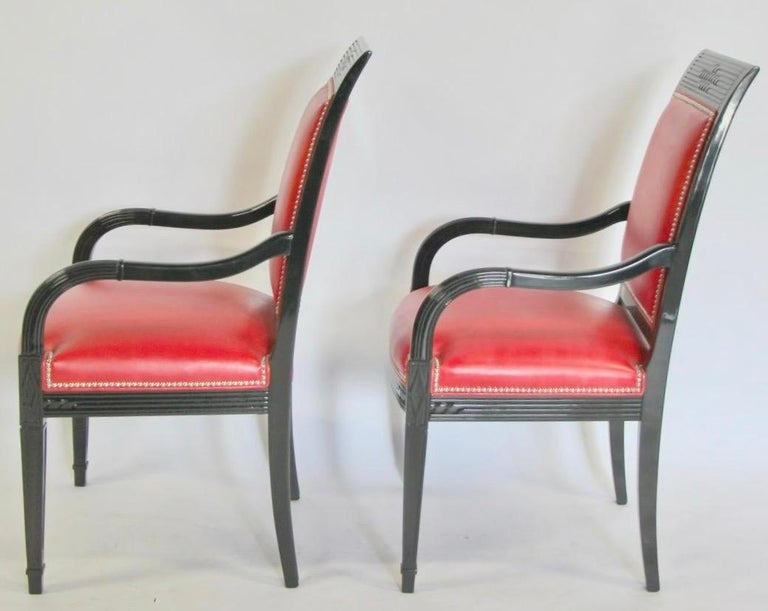 Pair of Leather and Black Lacquer Armchairs For Sale 8