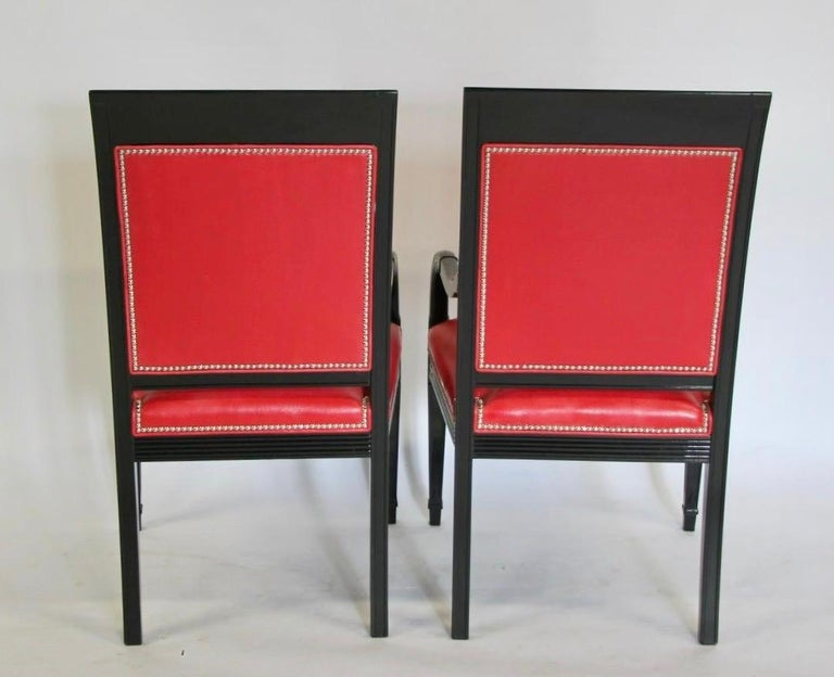 Pair of Leather and Black Lacquer Armchairs For Sale 9