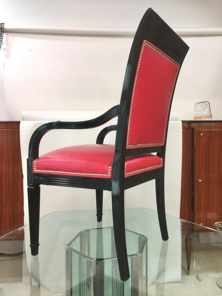 Pair of Leather and Black Lacquer Armchairs For Sale 4