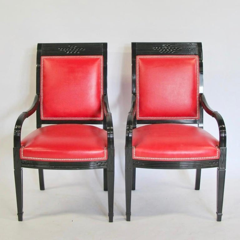 Pair of Leather and Black Lacquer Armchairs For Sale 6