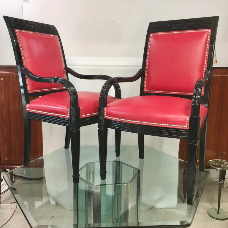 Art Deco Pair of Leather and Black Lacquer Armchairs For Sale