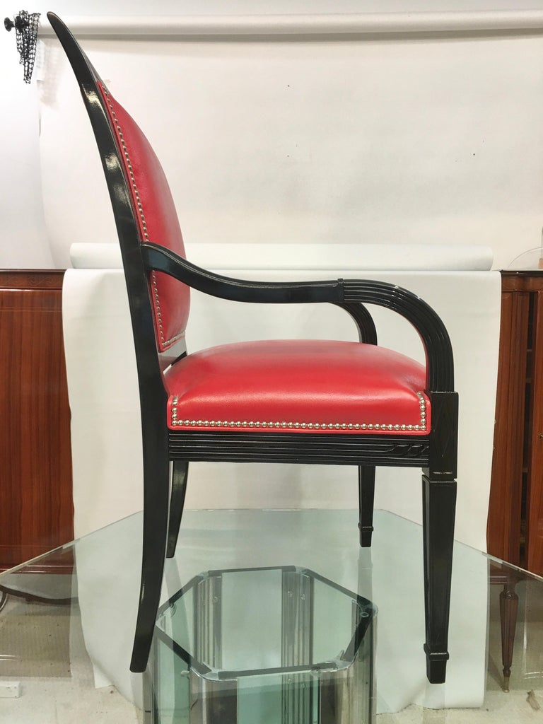 Pair of Leather and Black Lacquer Armchairs For Sale 1