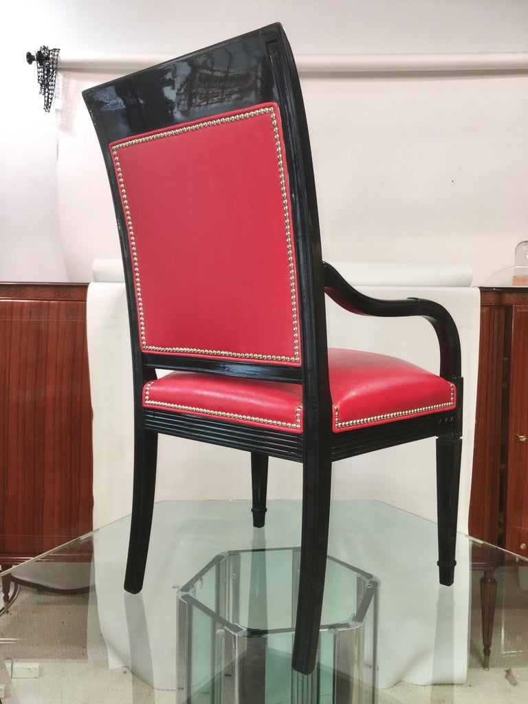 Pair of Leather and Black Lacquer Armchairs For Sale 2