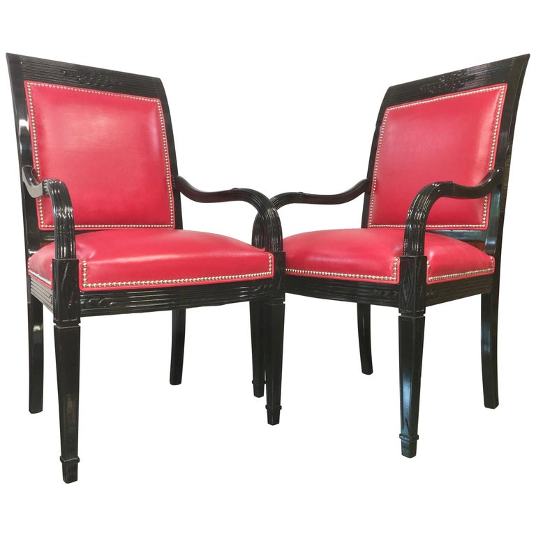 Pair of Leather and Black Lacquer Armchairs For Sale