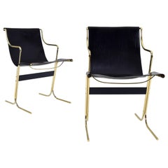 Pair of Leather and Brass Cigno Chairs by Ross Littell and Kelly to Padova Italy
