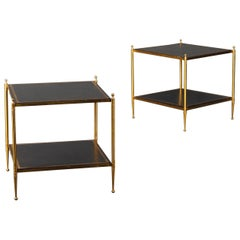 Pair of Leather and Brass Side Table