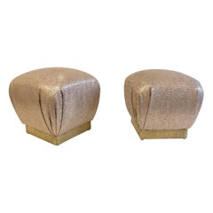 Pair of Leather and Brutalist Brass Poufs by Marge Carson