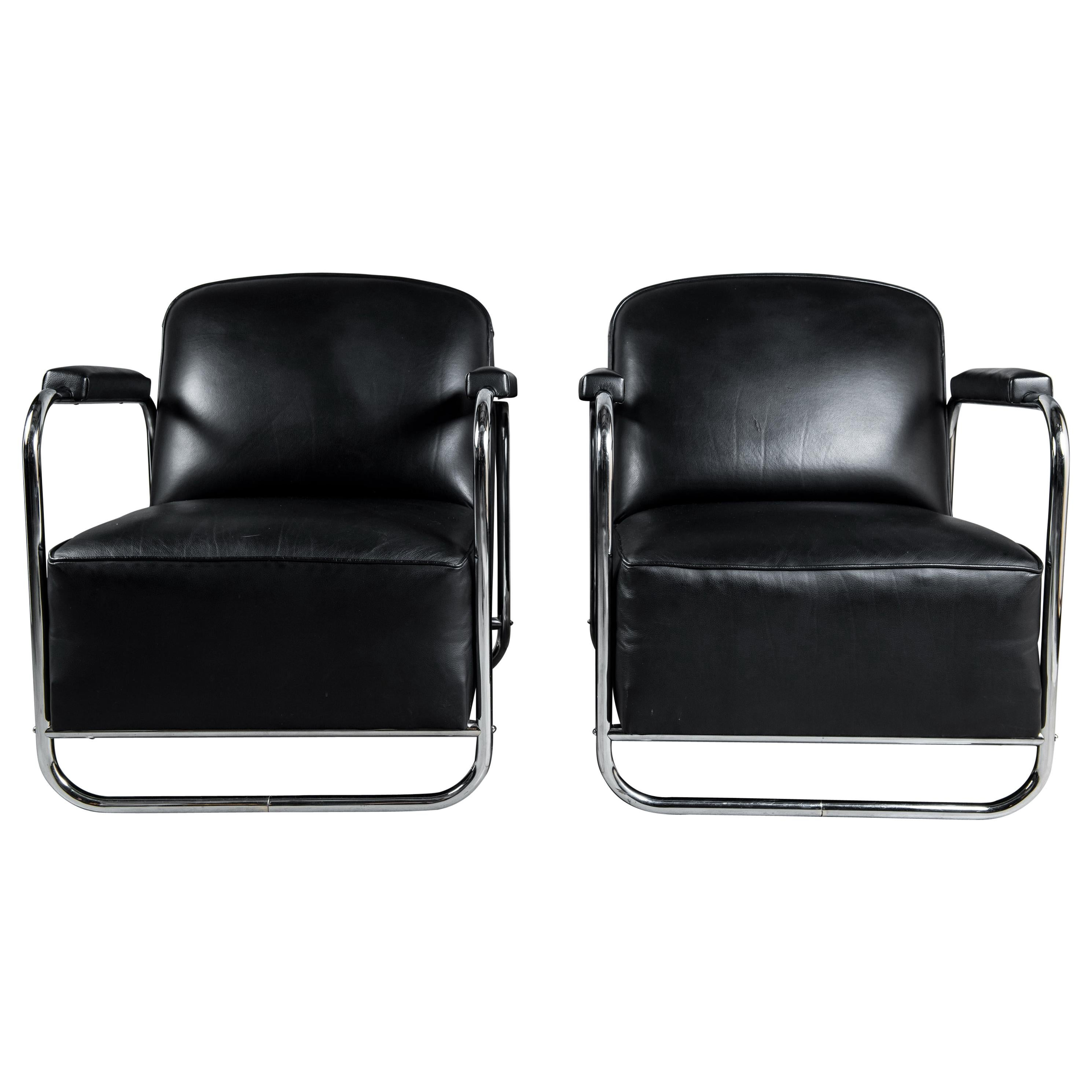 Pair of Leather and Chrome Armchairs, Midcentury, Germany, circa 1940