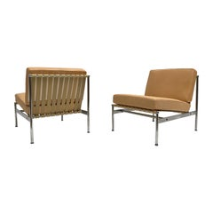 Leather and Chrome Lounge Chairs in the Style of Florence Knoll, 1958-1962, Pair