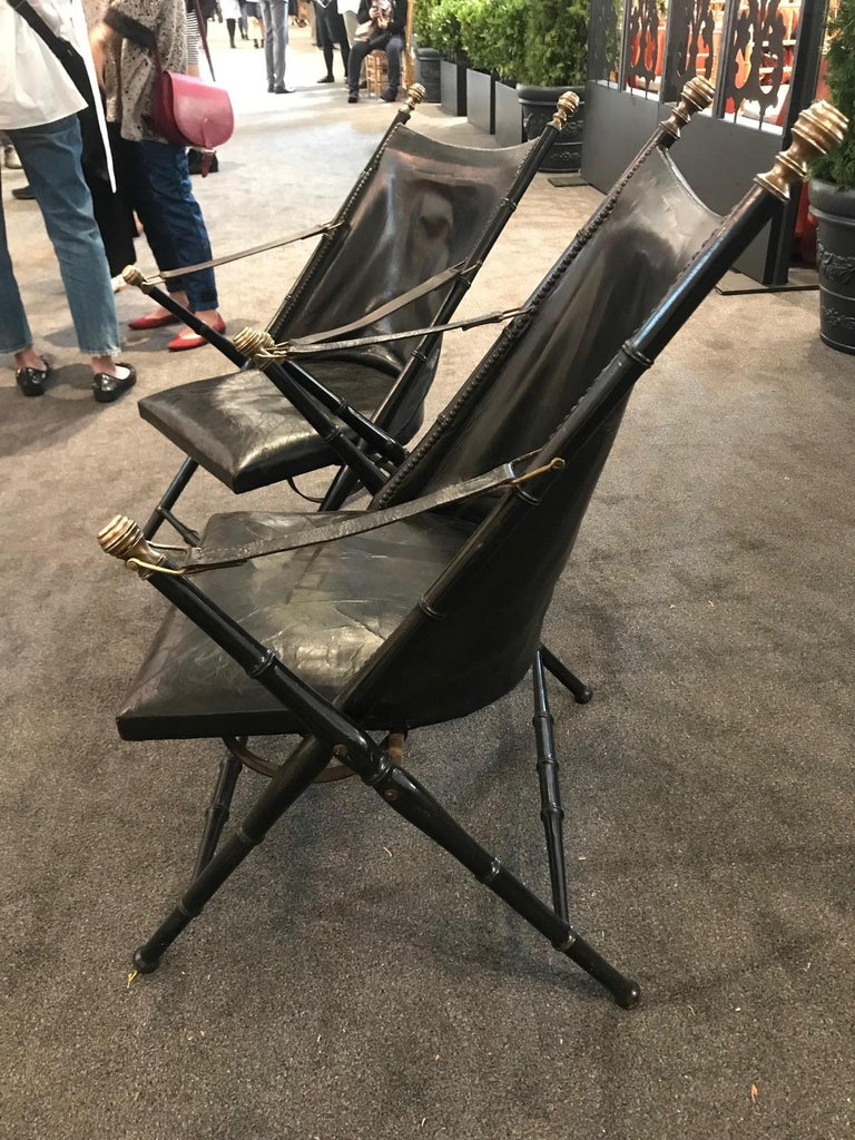 Pair of Leather and Ebonized Pear Wood Folding Chairs by Maison Jansen For Sale 6