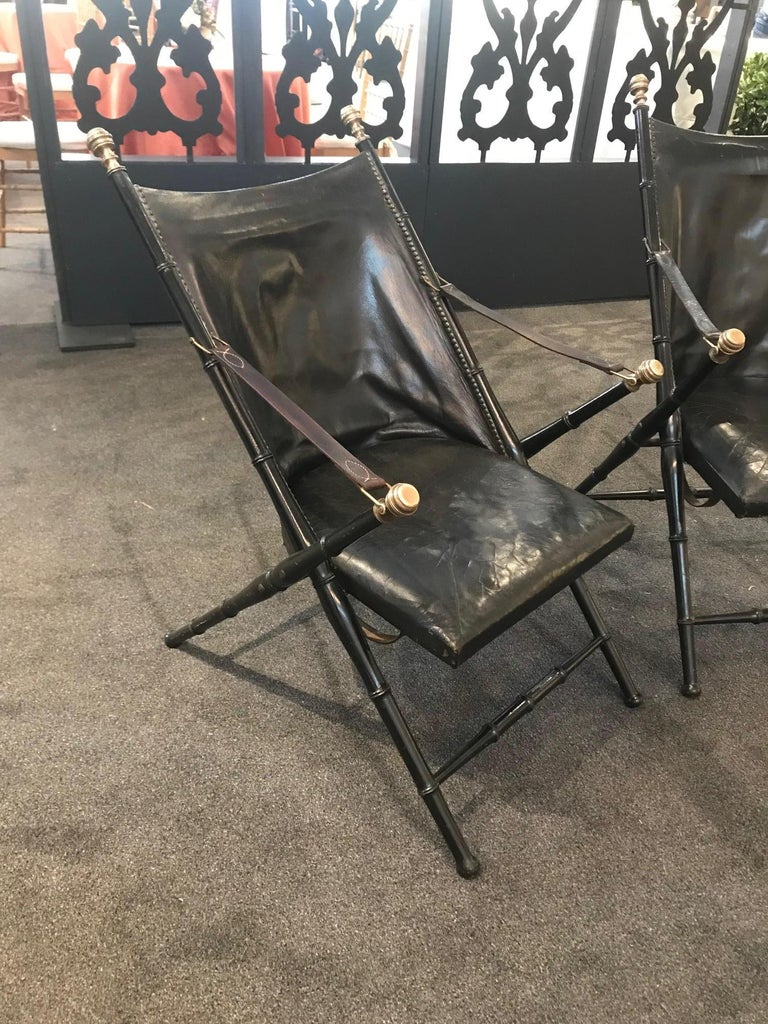 Pearwood Pair of Leather and Ebonized Pear Wood Folding Chairs by Maison Jansen For Sale