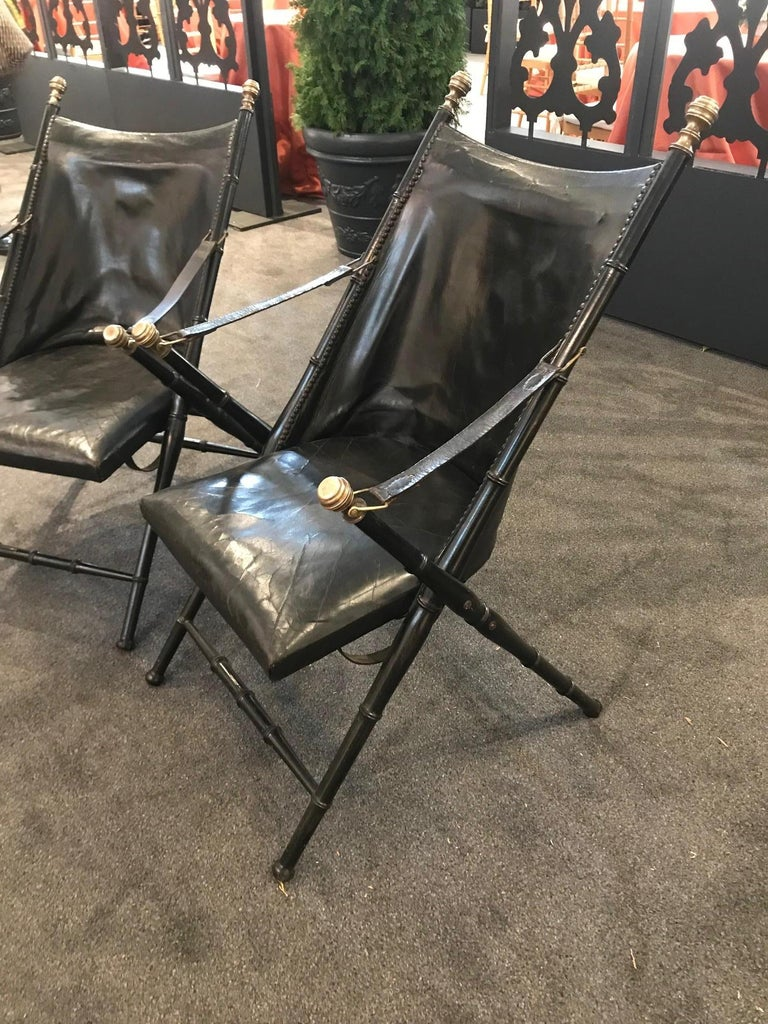 Pair of Leather and Ebonized Pear Wood Folding Chairs by Maison Jansen For Sale 1
