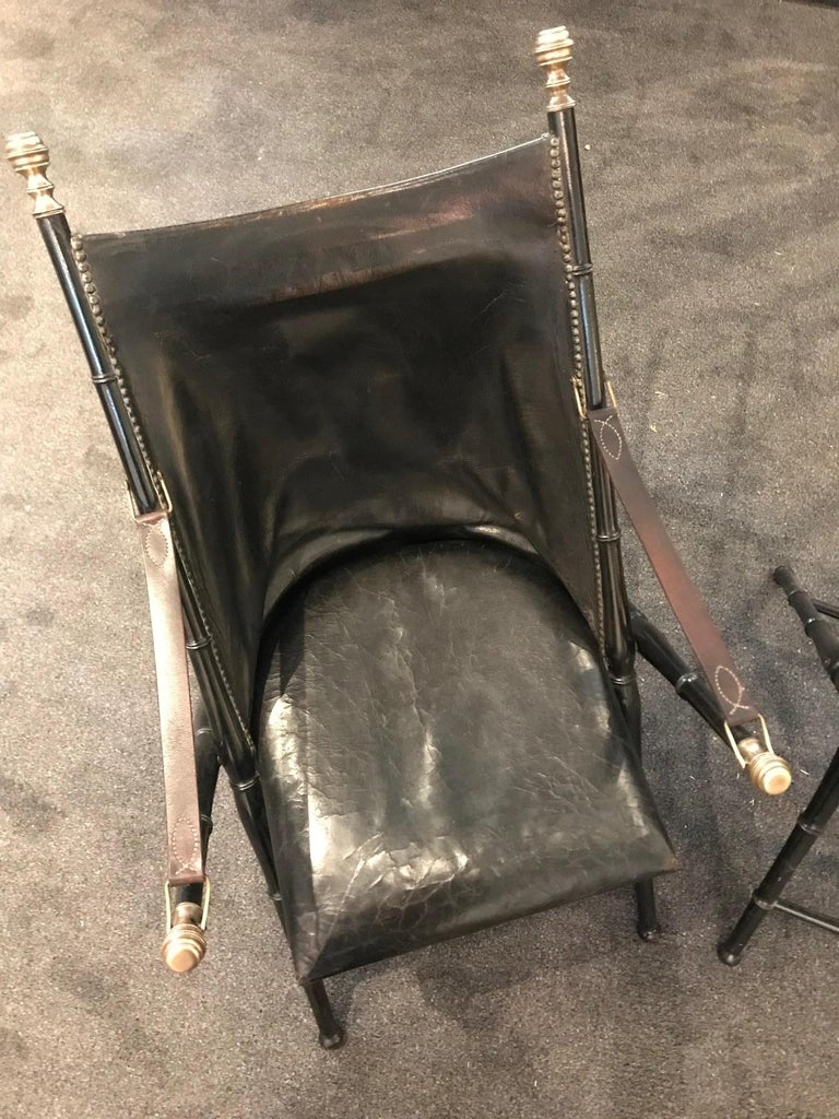 Pair of Leather and Ebonized Pear Wood Folding Chairs by Maison Jansen For Sale 3