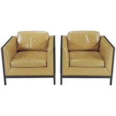 Pair of Leather and Ebonized Wood Club /Lounge Chairs