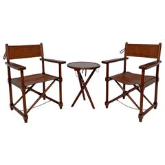 Pair of Leather and Mahogany Folding Campaign Chairs with Accompanying Table