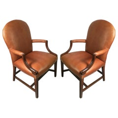 Pair of Leather and Mahogany Library Chairs