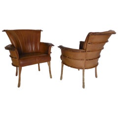 Pair of Leather and Palm Wood Club Chairs