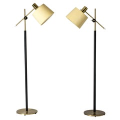 Pair of Leather and Silk Floor Lamps from Falkenbergs Belysning, Sweden, 1960s