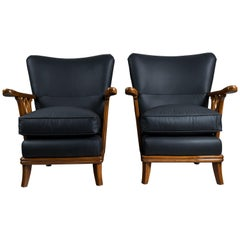 Pair of Leather and Wood Armchairs by Englander and Bonta, Argentina, 1940