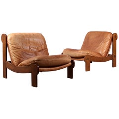 Pair of Leather and Wood Armchairs