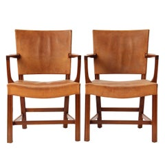 Pair of Leather Armchairs by Kaare Klint for Rud Rasmussen