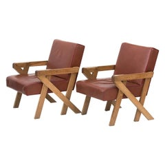 Pair of Leather Armchairs by Ali Tayar